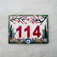 Mosaic House Number Plaque House Sign Address by FunkyMosaicsUK