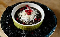 Acai chia pudding with pomegranate and coconut