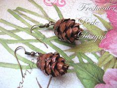 Eastern Hemlock Pine Cone Earrings by freshwaterperle on Etsy, $16.00