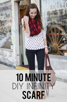 41 Easy and Fun Infinity Scarf Crafts - 10 Minute DIY Infinity Scarf Tutorial Sewing Tutorials, Sewing Hacks, Sewing Crafts, Sewing Projects, Sewing Patterns, Sewing Ideas, Diy Projects, Diy Clothing, Sewing Clothes