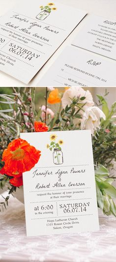 Sunflower and Mason Jar Inspired Rustic Fall Wedding Invitations