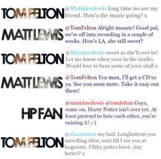 Greatest exchange between Tom Felton, Matthew Lewis, and a fan on Twitter