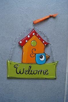 Plaque de porte Welcome Maison et oiseau : Décorations murales par vlmcreations