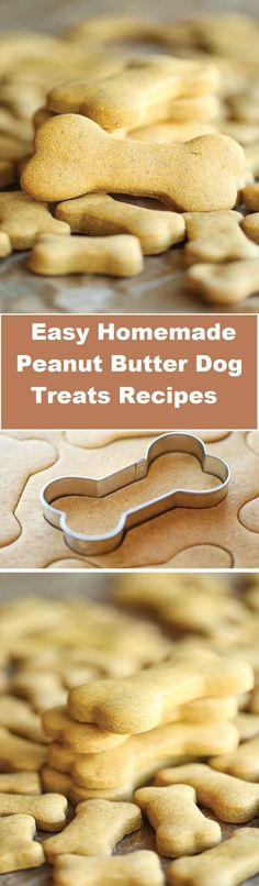 The easy homemade peanut butter dog treats recipes ever – simply mix, roll and cut. Easy peasy, and so much healthier than store-bought! Best of all, these homemade treats are incredibly easy with ingredients you already have on hand.