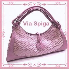 """VIa Spiga Pink Chevron and Leather Baby pink chevron and leather Via Spiga bag.  It measures 13 1/2"""" x 8"""" and is in excellent condition.  Some yellowing on the lining around the zipper compartment, but not due to dirt.  Just think it's something that's only happened over time, since this bag wasn't used more than two times. Via Spiga Bags Totes"""