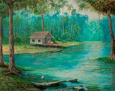 O igarapé e o caboclo (2001),óleo sobre tela de Jeriel. Dimensões:130 x 140cm.Coleção Particular - AP.