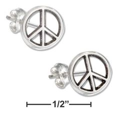 Sterling Silver Mini Peace Sign Earrings On Hypo-Allergenic Steel Posts And Nuts