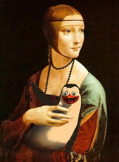 Woman with Penguin, artist unknown.