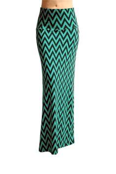 Catch Bliss Boutique - Jade/Black Chevron Band Maxi Skirt , $25.00 (http://www.catchbliss.com/jade-black-chevron-band-maxi-skirt/)