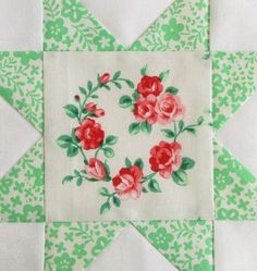 FWQAL 56 - Red White Green Flower Sugar Lecien
