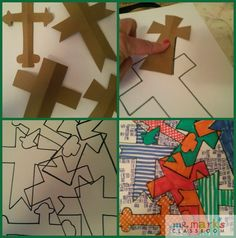 Kids will create unique art using cross shapes and colors. Great talk time about how many crosses were at the crucifixion. Talk about the facts of the cross and the timeline of Jesus' death as they color. White paper Cross shapes cut from cardstock Markers Scissors Construction paper for framing Cut cardstock into cross shapes.…