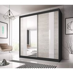 Mercury Row Where space is limited and appearance is essential, this Farnborough 2 Door Sliding Wardrobe is the perfect solution for any room. 3 Door Sliding Wardrobe, Sliding Doors, Sliding Wardrobe Designs, Hall Wardrobe, Double Wardrobe, Modern Wardrobe, Home Design, Modern Design, Interior Design