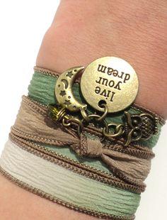 Live Your Dream Silk Wrap Bracelet Yoga by BohemianEarthDesigns, $28.95