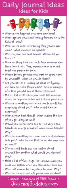 In these 32 daily journal ideas, students will specifically consider questions that help them get to know themselves better. They'll stop and look back to recall their favorite memories, analyze their own talents and skills, and think about their goals for the future.