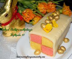Tradycyjne ciasto angielskie zwane ciastem Battenberg wykonane w kształcie szachownicy w dwóch kolorach żółtym i różowym. Specjalnie dla Was kochani czytelnicy na Wielkanoc. Wesołych Swiąt !!! Skła… Cake, English, Food, Kuchen, Essen, English Language, Meals, Torte, Cookies