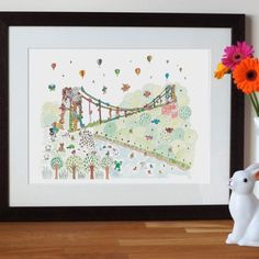 Clifton Suspension Bridge Nursery Wall Art Print by Jenny Mackendrick