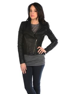 Fitted black vegan leather biker jacket at Apricot Lane Boutique Virginia Beach.