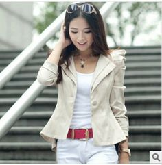 revestimento das mulheres blazers outono outerwear primavera casual novo 2013 moda mangas compridas formal roupas de transporte gratuito US $29.99