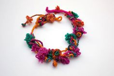 Fiber statement necklace, hand wrapped jewelry with bamboo beads, orange, pink, turquoise, blue, OOAK