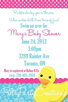 RUBBER DUCKY baby shower invitation  U by PrettyPartyCreations, $9.50
