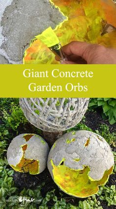 Whether orb, sphere or ball, these easy giant concrete sculptures are made with inflatables and concrete mix. Rustic finish, glowing interiors look awesome