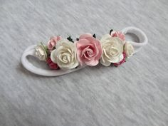 Flowers Headband - Rose Headband - ivory pink headband - hairband - soft headband - baby headband mulberry flowers girls flowers crown Rose Headband, Pink Headbands, Headband Baby, Headbands For Women, Newborn Knit Hat, Hospital Gifts, Pink Beanies, Holiday Hairstyles, Baby Girl Hats