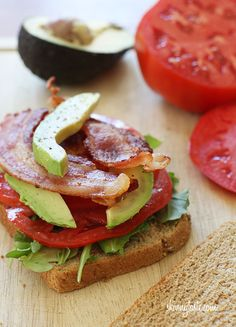 Bacon, lettuce, tomato and avocado on toasted whole grain bread. With summer tomatoes at their peak, this is the best time to enjoy these yummy sandwiches, perfect for lunch or school. Swapping the mayo for the avocado adds some healthy fats  You can even use turkey bacon.