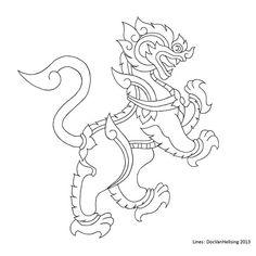 DeviantArt: More Collections Like Thai Lion Tattoo - Lines by DocVanHellsing Sak Yant Tattoo, Thai Pattern, Thailand Art, Thai Tattoo, Asian Tattoos, Japanese Tattoo Art, Sunflower Art, Thai Art, Japanese Patterns