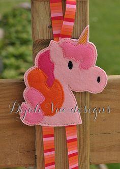 Unicorn Bow Holder Felt Embroidery Design Feltie Clippie
