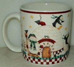 Sakura Debbie Mumm Winter Follies Penguins Christmas Igloo Snowman Coffee Mug - This Item is for sale at LB General Store http://stores.ebay.com/LB-General-Store ~Free Domestic Shipping