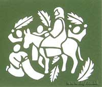 Small Cut-Out Folded Card with a Palm Sunday Scene Main Image