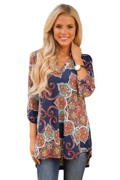 Gypsy Floral Print Slight V Neck Blouse