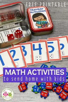 Add these free printable number cards, counters, & dice to an empty mint tin or soap container to create fun math activities for your classroom or to send home with kids. Perfect for preschool…More Math Activities For Kids, Learning Games For Kids, Counting Activities, Home Learning, Preschool Math Games, Number Activities, Classroom Activities, Free Printable Numbers, Free Printables