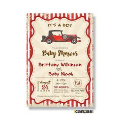 Car Baby Shower Invitations. Boys Baby Shower. It's a by 800Canvas