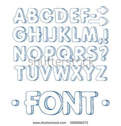 Graphic font. Handmade sans-serif font, thin lines. Hand drawn calligraphy lettering alphabet. Vector illustration. Letters on a white background. Doodle comic font for your design. Monochrome. Blue