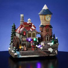 San Francisco Music Box Santa Christmas Animated Clocktower Village Figurine NIB…