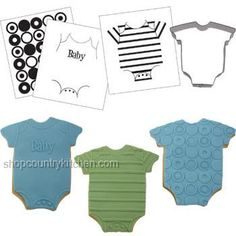 Baby Bodysuit Cookie Cutter Texture Set Professional-looking cookies decorated in minutes! Use these texture sheets with freshly rolled fondant or crusted buttercream. Onesie Cookies, Cute Cookies, Cupcake Cookies, Cookie Favors, Cupcakes, Baby Shower Cookie Cutters, Baby Shower Cookies, Welcome Baby Boys, Sweetarts
