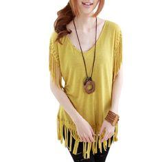 Allegra K Lady Studded Tassel Hem Short Sleeve Loose Shirt Yellow Size L Allegra K. $9.31