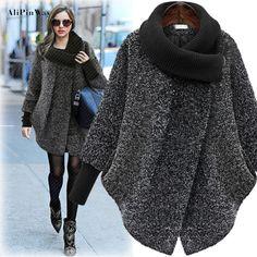 Nova moda Plus Size Mulher Casaco Preto Sólido Cinza Casaco de Lã Longo Casaco Outerwear jaqueta Casaco de Inverno Outono mulheres