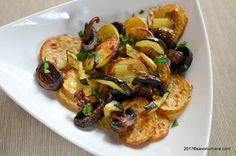 Cartofi la cuptor cu dovlecei si ciuperci