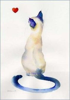 "thatsthewayiseeit: "" Siamese cat watercolor painting by Sheila Gill """