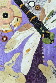 Mosaic Stone Artwork Dragonfly Wall Art Tile Marble Mural. MP190