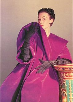 "Mary Jane Russel wearing ""Kabuki"" a velvet evening coat by Balenciaga, photo by Louise Dahl-Wolfe, 1951."