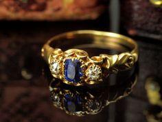Victorian Sapphire Diamond Ring  Old Cut by BelmontandBellamy