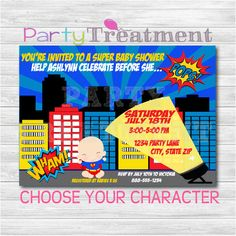 Choose Your Character Superhero Baby Shower by PartyTreatment