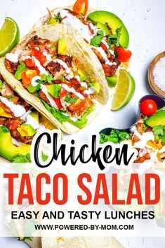 Chicken Taco Salad is the ideal healthy but yummy lunch! Make this kid-friendly meal as a salad or as a taco or have it in a tortilla to make an easy wrap on the go! Taco Salad Recipes, Rice Recipes, Easy Recipes, Chicken Recipes, Recipies, Dinner Recipes, Easy Meals, Healthy Recipes, Easy Wrap