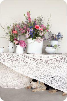 enamel vessels + wild flowers + lace = loove