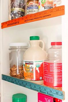 How cute are these Vintage Ruler Stops? It's such a simple and fun way to brighten your pantry! #diy #diypantry #diyhome #pantrydesign Small Pantry, Walk In Pantry, Vintage Shelf, Vintage Wood, Thin Shelves, Pantry Inspiration, Kitchen Pantry, Pantry Diy, Kitchen Ideas