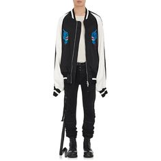 Ben Taverniti Unravel Project Men's Embroidered Oversized Bomber... ($1,809) ❤ liked on Polyvore featuring men's fashion, men's clothing, men's outerwear, men's jackets, black, men's embroidered bomber jacket, mens blouson jacket, mens jackets, mens oversized denim jacket and mens bomber jacket