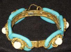 Vintage Signed Miriam Haskell Hinged Bracelet | eBay